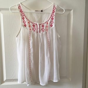 Sheer,  White, Sleeveless Top with Embroidery
